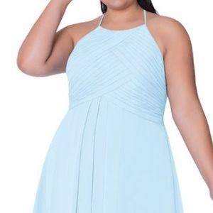 Azazie Long Sky Blue Bridesmaids Dress- Unaltered